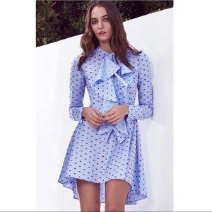 BCBGMAXAZRIA Chelsea Dotted Shirt Dress Large
